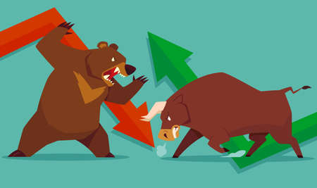 Ilustración de Illustration of bull vs bear symbol of stock market trend - Imagen libre de derechos