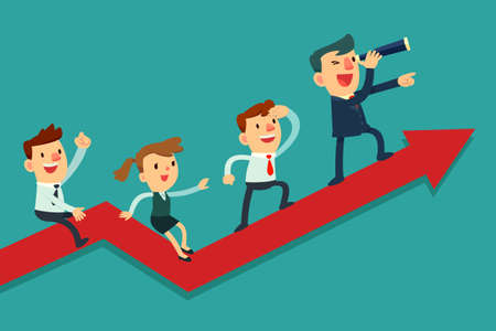Illustration pour Illustration of team of businessman on arrow graph. Team leader has telescope and leading his team to success - image libre de droit