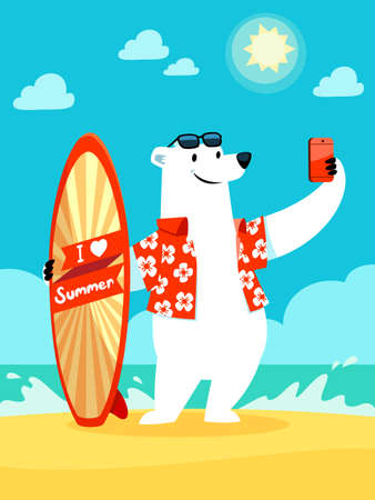 Ilustración de Illustration of polar bear with I love summer surfboard taking selfie at the beach - Imagen libre de derechos