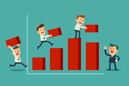 Illustration pour Illustration of team of businessman working together to build bar chart - image libre de droit