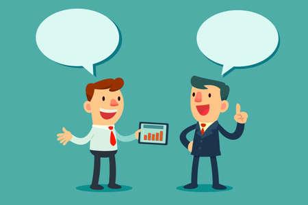 Ilustración de Illustration of two businessmen discussing business strategy - Imagen libre de derechos