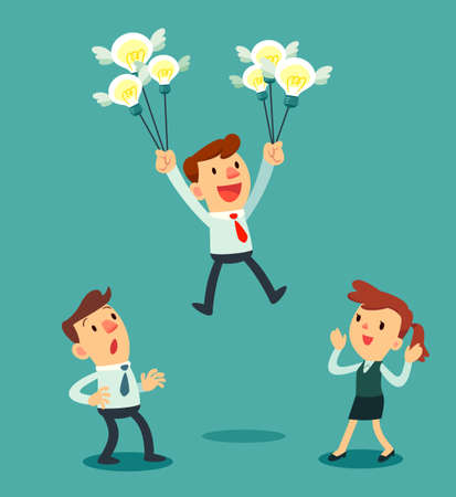 Illustration pour Illustration of businessman holding a group of idea bulbs float above others - image libre de droit