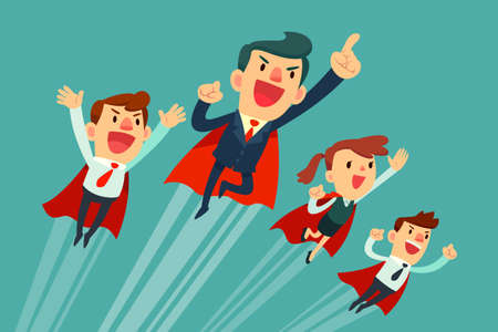 Illustration for Super business team-team of super businessmen in red capes flying upwards to their success - Royalty Free Image