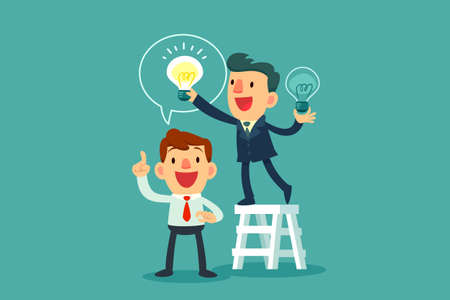 Illustration for successful businessman give another businessman new idea bulb - Royalty Free Image
