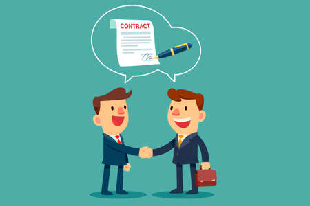 Illustration pour two businessmen shaking hand and agree to sign contract after successful business discussion. Business agreement concept. - image libre de droit