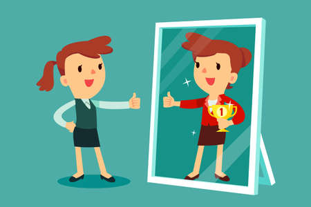 Illustrazione per Businesswomen standing in front of a mirror looking at her reflection and imagine herself successful. Business concept. - Immagini Royalty Free
