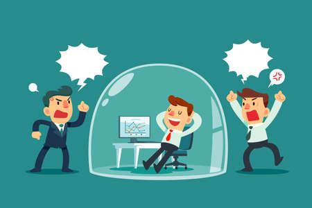 Ilustración de Happy businessman relaxing inside glass dome while others colleagues shouting outside. Stress management business concept. - Imagen libre de derechos