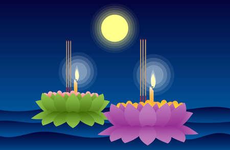 Illustration pour Vector illustration of Loy Krathong festival in full moon night at Thailand. - image libre de droit