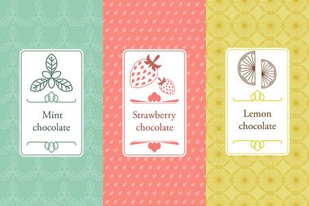 Ilustración de Vector set of seamless pattern and labels for chocolate and cocoa. - Imagen libre de derechos
