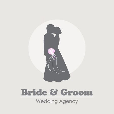 Logo with silhouettes of happy bride and groom. Logo for wedding agency, jewelry shop and wedding dress store