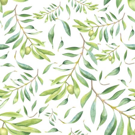 Illustration pour Green watercolor olive branch seamless pattern - image libre de droit