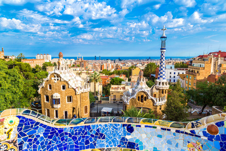 Photo pour Park Guell by architect Gaudi in a summer day  in Barcelona, Spain. - image libre de droit