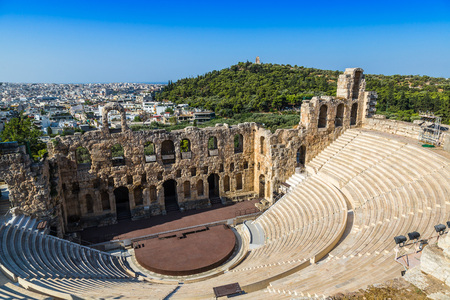 Photo for Ancient theater in a summer day in Acropolis Greece, Athnes - Royalty Free Image