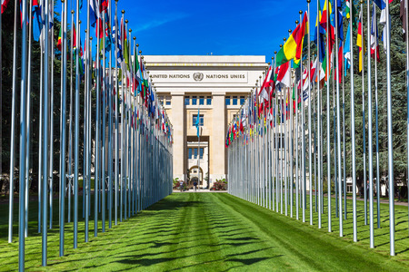 Photo pour GENEVA, SWITZERLAND - JULY 25, 2017: United Nations entrance and building in Geneva in a beautiful summer day, Switzerland - image libre de droit