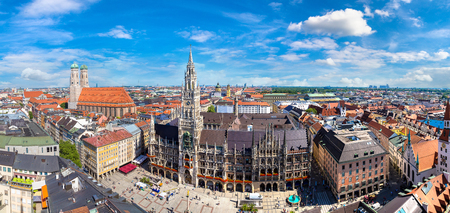 Photo for Aerial view on Marienplatz town hall and Frauenkirche in Munich, Germany in a beautiful summer day - Royalty Free Image