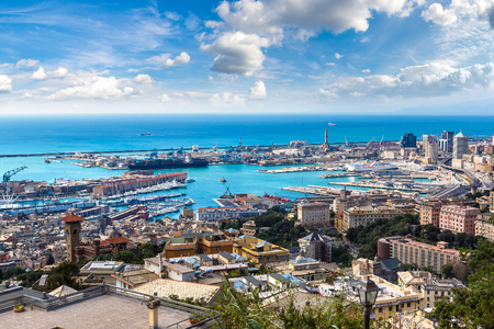 Foto per Panoramic view port of Genoa in a summer day, Italy - Immagine Royalty Free