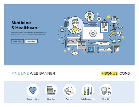 Flat line design of web banner template with outline icons of emergency medical services, hospitality in clinic, professional medicine. Modern vector illustration concept for website or infographics.