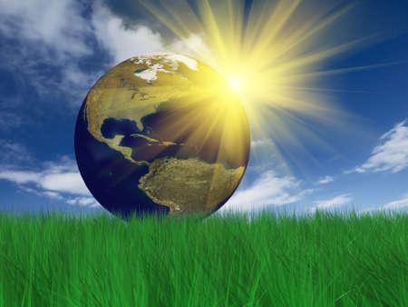 Photo pour Globe on grass. Grass 3D rendering - image libre de droit
