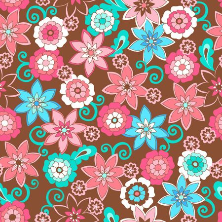 Flowers Seamless Repeat Pattern Vector Illustration