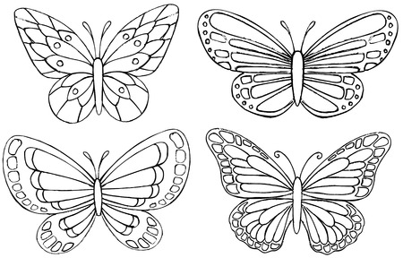 Sketchy Doodle Butterfly Vector Drawings