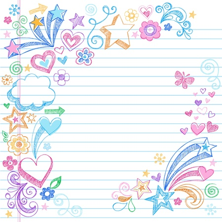 Hand-Drawn Sketchy Doodles with Stars, Hearts, and Flowers- Design Elements on Lined Notebook Paper Background- Vector Illustration