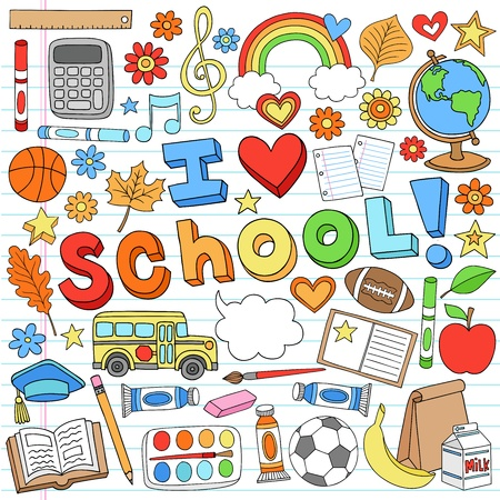 Photo for I Love School Classroom Supplies Notebook Doodles Hand-Drawn Illustration Design Elements on Lined Sketchbook Paper Background - Royalty Free Image