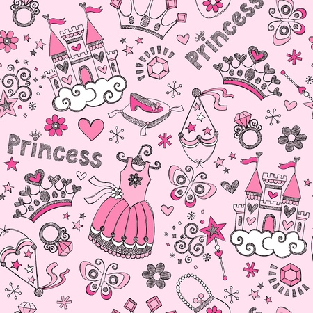 Fairy Tale Princess Tiara Seamless Pattern- Hand-Drawn Notebook Doodle Design Elements Set V mural