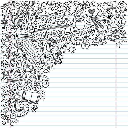 Foto de Inky Back to School Notebook Doodles with Apple, Soccer Ball, Art Supplies and Book- Hand-Drawn Vector Illustration Design Elements on Lined Sketchbook Paper Background - Imagen libre de derechos