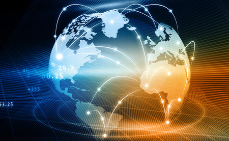 Photo pour Futuristic background of Global business network, internet, Globalization  concept  - image libre de droit