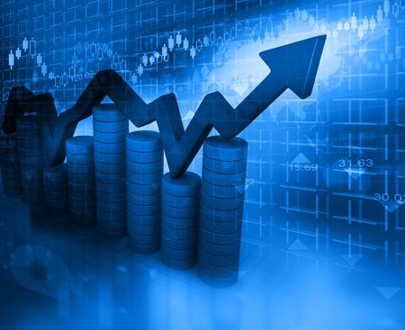 Photo pour Business Graph on abstract blue background - image libre de droit