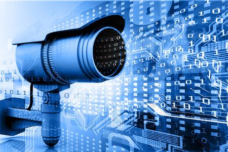Foto de Surveillance camera with digital world - Imagen libre de derechos