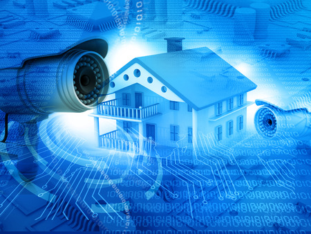 Photo pour House with  security camera, house protection, CCTV - image libre de droit