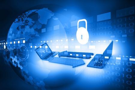 Foto de Cyber security concept, circuit board with Closed Padlock - Imagen libre de derechos