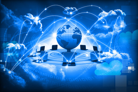 Foto de Cloud computing concept, global computer network - Imagen libre de derechos