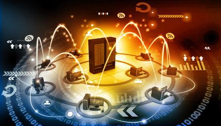 Photo pour Computer network with server - image libre de droit