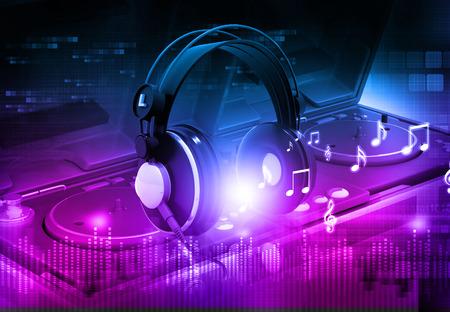 Photo pour Dj mixer with headphones, Dj party background - image libre de droit