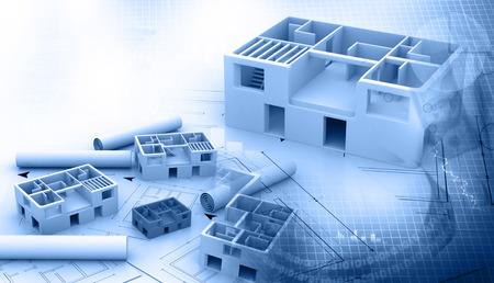 Photo pour Blue print of a architectural project - image libre de droit
