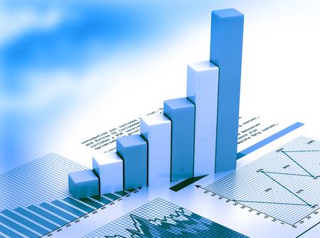 Foto de Stock Market Graph and business Bar Chart - Imagen libre de derechos
