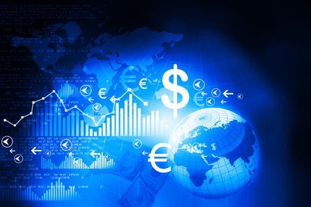 Photo pour Financial charts and graphs with digital world - image libre de droit