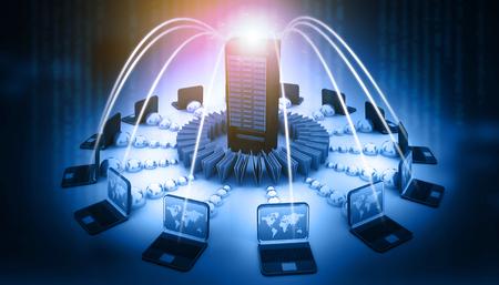 Foto de Computer Network and internet communication concept. 3d illustration - Imagen libre de derechos