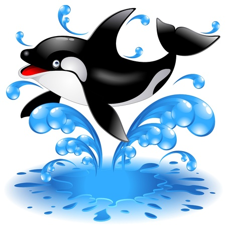 Illustration for Happy Jumping Killer Whale Cartoon - Royalty Free Image