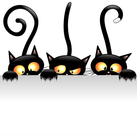 Illustration pour Funny Black Cats Cartoon with White Panel - image libre de droit