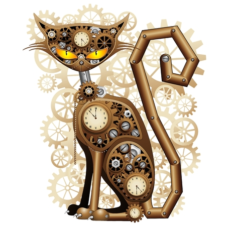 Photo for Steampunk Cat Vintage Style - Royalty Free Image