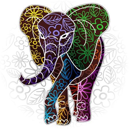 Illustration pour Elephant Floral Batik Art Design - image libre de droit