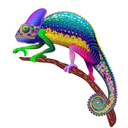 Illustration pour Chameleon Fantasy Rainbow Colors - image libre de droit