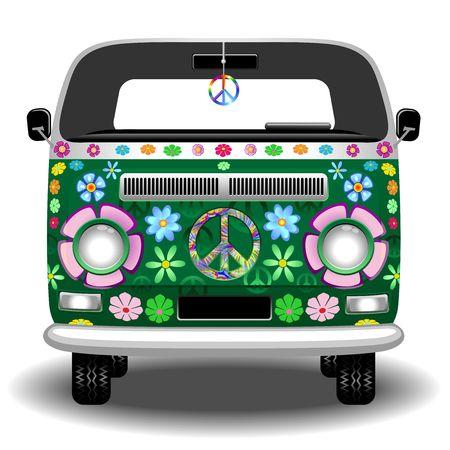 Illustration pour Hippie Groovy Van Peace and Love - image libre de droit