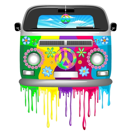 Illustration for Hippie Van Dripping Rainbow Paint - Royalty Free Image