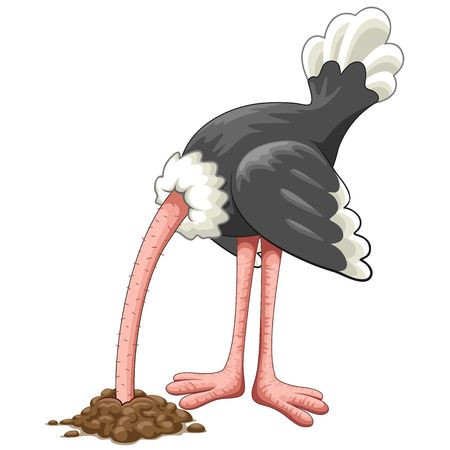Illustration pour Ostrich Head in Sand Proverb Cartoon Character - image libre de droit