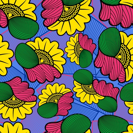 Illustration for Wax African Cloth Textile Fabric Seamless Pattern Vector Design - Royalty Free Image