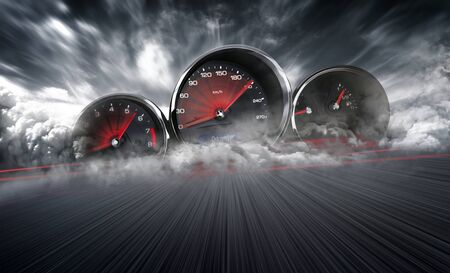 Foto de Speedometer scoring high speed in a fast motion blur racetrack background. Speeding Car Background Photo Concept. - Imagen libre de derechos